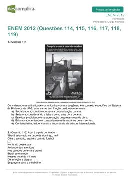 ENEM 2012 (Questões 114, 115, 116, 117, 118, 119)