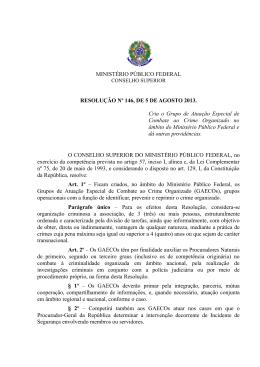 MINISTÉRIO PÚBLICO FEDERAL RESOLUÇÃO Nº 146, DE 5 DE