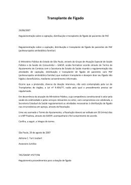 Transplante de Fígado - Sociedade Brasileira de Hepatologia