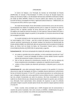 Comunicado - CESPE / UnB - Universidade de Brasília