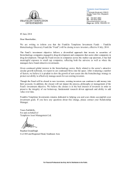 05 June 2014 Dear Shareholder, We are writing to inform you