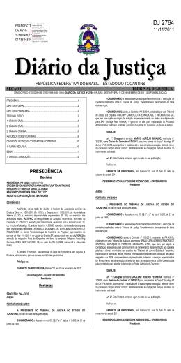 DJ 2764 - Tribunal de Justiça do Estado do Tocantins