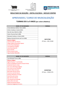 MUSICALIZAÇÃO / NÚCLEO DO CENTRO (Edital 013