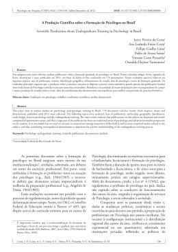 A Produção Científica sobre a Formação de Psicólogos no