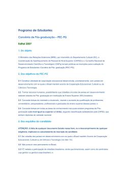 Edital Convênio de Pós-graduação PEC-PG 2007