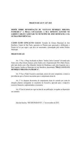 """projeto de lei nº. 027/ 2015 dispõe sobre denominação de """"gustavo"""