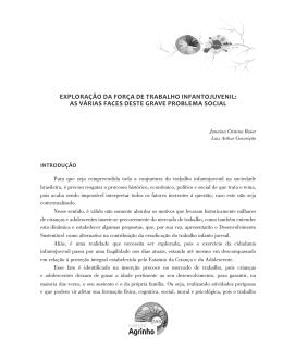 EXPLORAÇÃO DA FORÇA DE TRABALHO INFANTOJUVENIL: AS