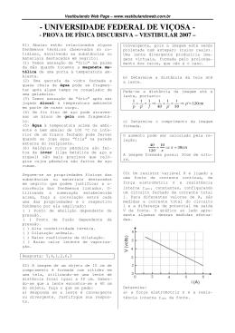 Prova de Física - discursiva - vestibular 2007