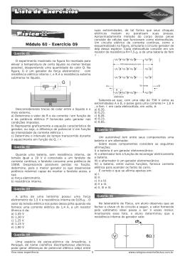 Lista de exercícios 3 Ano Apostila 02 Fisica II Modulo 60