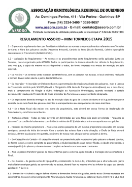 REGULAMENTO ASSORO – MINI TORNEIOS ETAPA 2015