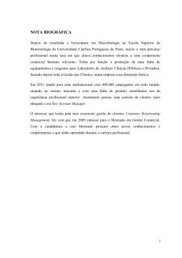 NOTA BIOGRÁFICA - Repositório Aberto da Universidade do Porto