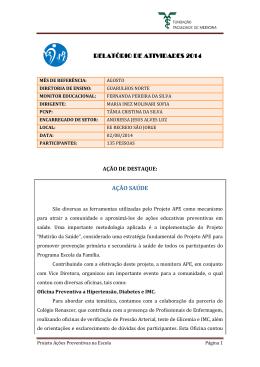 relatório de atividades 2014 relatório de atividades