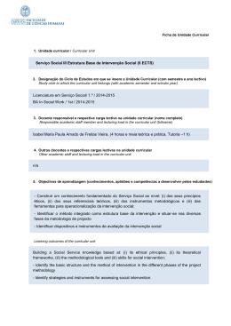 Serviço Social III Estrutura Base da Intervenção Social (6 ECTS