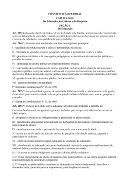 CONSTITUIÇÃO FEDERAL CAPÍTULO III Da Educação, da Cultura
