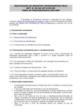 14 Reativação Registro Interromp. pelo Art 64 SEM - CREA