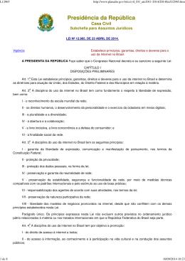 Marco Civil da Internet - Centro de Tecnologia da Informação