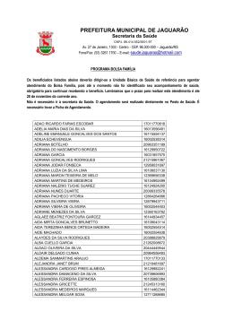 Beneficiários Bolsa Família - Prefeitura Municipal de Jaguarão