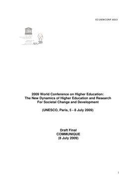 2009 World Conference on Higher Education - celia.na