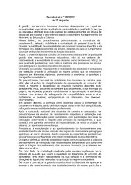 Decreto-Lei n.º 132/2012 de 27 de junho A gestão dos