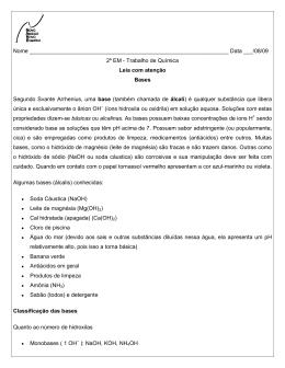 Nome Data ___/08/09 2º EM - Trabalho de Química Leia com aten