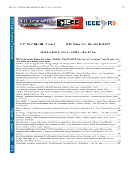 MAY 2014 VOLUME 12 Issue 3 IEEE Xplore, DOI, ISI, ISSN 1548