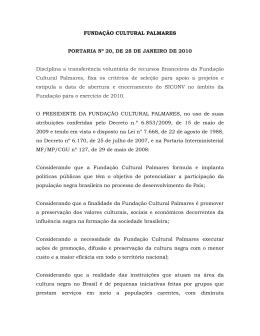 FUNDAÇÃO CULTURAL PALMARES PORTARIA Nº 20, DE 28 DE