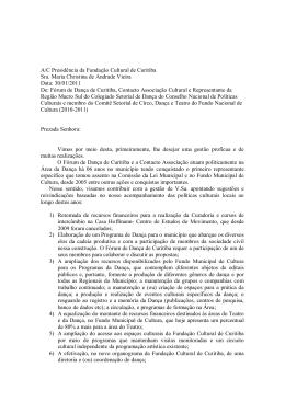 A/C Presidência da Fundação Cultural de Curitiba Sra. Maria