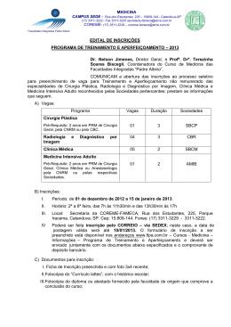 EDITAL DE INSCRIÇÕES – ESTÁGIO MÉDICO – 2007