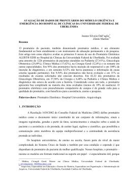 avaliação de dados de prontuários do módulo urgência e