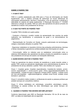SOBRE O PADRÃO TISS - Outros Sites Petrobras