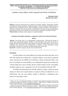 laicidade e ensino religioso: estudo comparado entre brasil e guiné