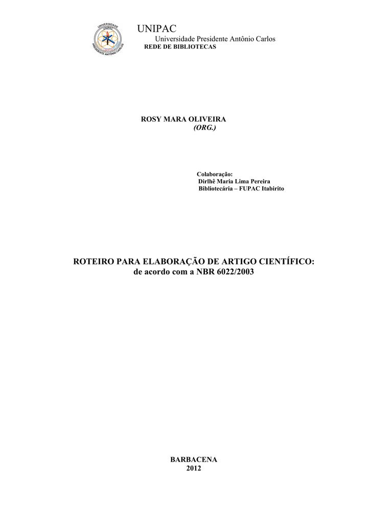 Roteiro Para Elaboração De Artigo Científico