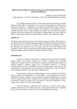 BREVE TRAJETÓRIA DA LÍNGUA INGLESA E DO LÍVRO