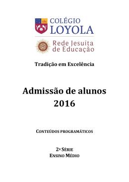 Admissão de alunos 2016