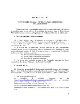 Edital n° 15/14 - Teste Seletivo para Contratação de