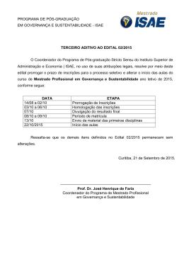 ISAE TERCEIRO ADITIVO AO EDITAL 02/2015 O Coordenador do