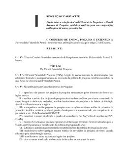 Resolução nº 68/95-CEPE - Universidade Federal do Paraná