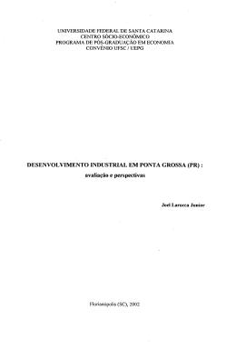 DESENVOLVIMENTO INDUSTRIAL EM PONTA GROSSA (PR