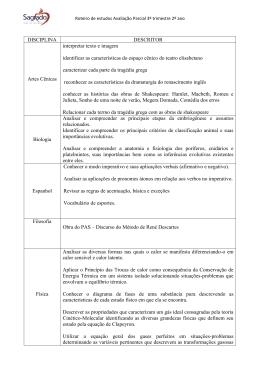 DISCIPLINA DESCRITOR Artes Cênicas interpretar texto e imagem