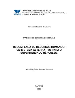 recompensa de recursos humanos: um sistema alternativo