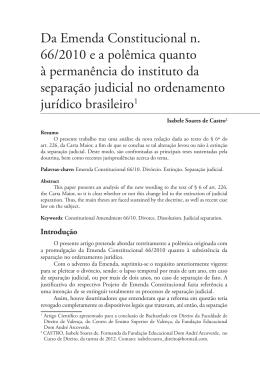 Da Emenda Constitucional n. 66/2010 e a polêmica quanto à