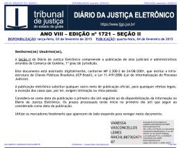 TJ-GO DIÁRIO DA JUSTIÇA ELETRÔNICO - EDIÇÃO 1721