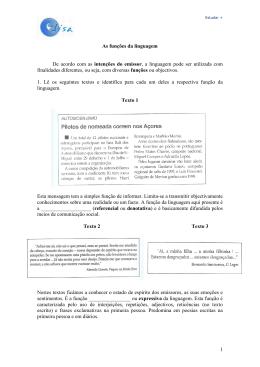 1 As funções da linguagem De acordo com as intenções