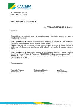 27 de outubro de 2015. CE-COPEL nº 71/2015 Para