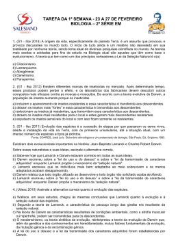 Questões de Biologia - Instituto São José Salesiano Resende/RJ