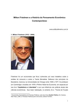 Milton Friedman e a História do Pensamento