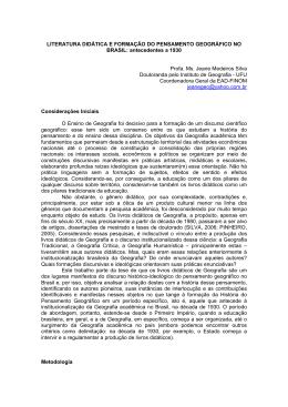 LITERATURA DIDÁTICA E FORMAÇÃO DO PENSAMENTO