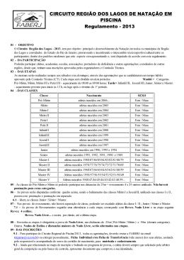 CIRCUITO REGIÃO DOS LAGOS DE NATAÇÃO EM