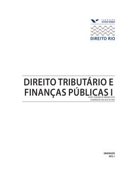 DIREITO TRIBUTÁRIO E FINANÇAS PÚBLICAS I