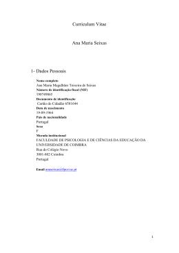 Descarregar o CV completo - Centro de Estudos Sociais